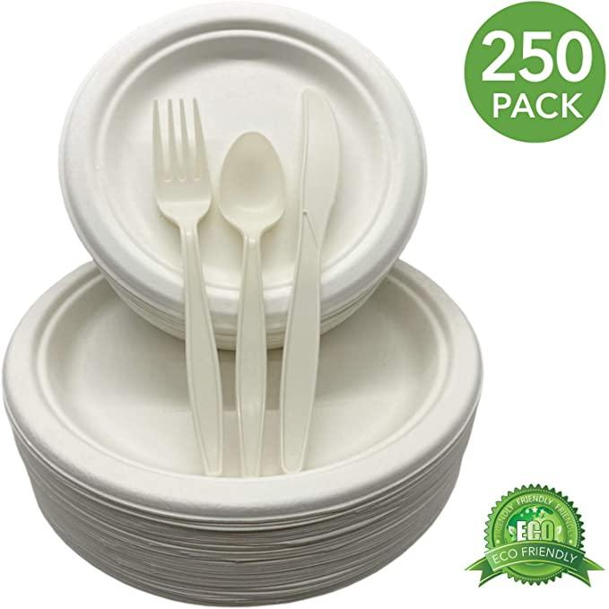 Eco Friendly Party Plates and Cutlery 250 Piece Biodegradable Dinnerware Set Service for 50 Compostable 9-Inch Plates, 7-Inch Plates, 50 Forks, 50 Knives and 50 Spoons (White)